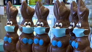 Coronavirus in Europe: Mask-wearing chocolate bunnies bring rare bit of joy amid lockdown