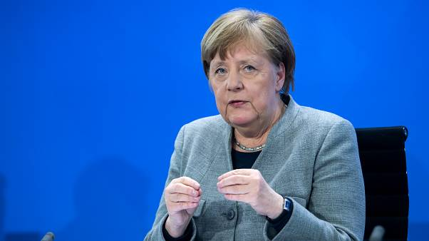 German Chancellor Angela Merkel addresses a press conference on German government's measures to avoid further spread of the novel coronavirus COVID-19, on April 15, 2020