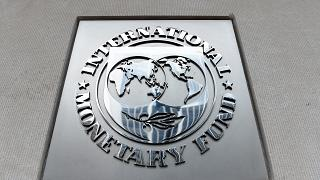 An exterior view of the building of the International Monetary Fund (IMF)