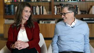 In this Feb. 1, 2019, file photo, Bill and Melinda Gates look toward each other and smile while being interviewed in Kirkland, Wash.