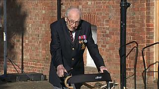 Captain Thomas Moore walking his laps in his garden in Bedfordshire, UK, Tuesday 15th of April, 2020