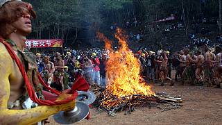 Fire festival in Yunnan, China, where live the species of bat at the origin of the new coronavirus