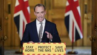 Britain's Foreign Secretary Dominic Raab at 10 Downing Street, in London, Thursday April 16, 2020.