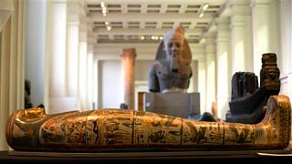 The Mummy of Tamut, a temple singer around 900 BC, is shown during a press conference at the British Museum in London, Wednesday April 9, 2014.