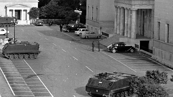 Tanks and troops stand guard outside the Parliament building in Athens, Greece, April 22, 1967,