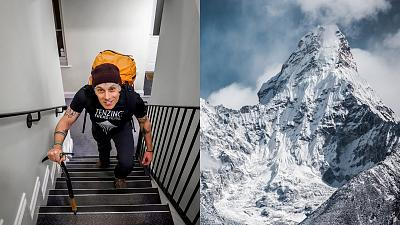 Rob Ferguson, climbing his 'Everest' at home in London.