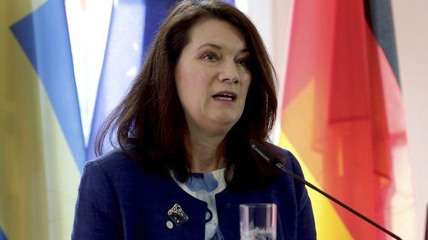 وزيرة الخارجية السويدية آن لينديه خلال لقاء مشترك مع نظيرها الألماني هايكو ماس (أرشيف)