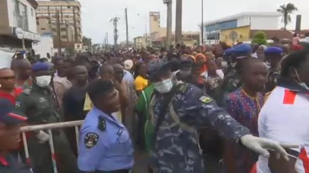 Police in Lagos, Nigeria trying to manage crowds amid coronavirus outbreak