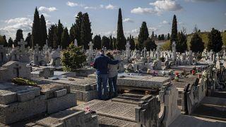 Entierro de una víctima de coronavirus en Madrid