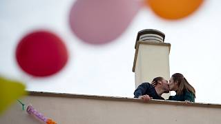 A couple celebrate their upcoming wedding at their home in Ronda, Spain, during national lockdown - April 7, 2020