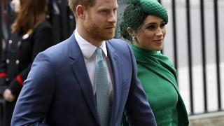 Britain's Harry and Meghan the Duke and Duchess of Sussex arrive to attend the annual Commonwealth Day service at Westminster Abbey in London, Monday, March 9, 2020.