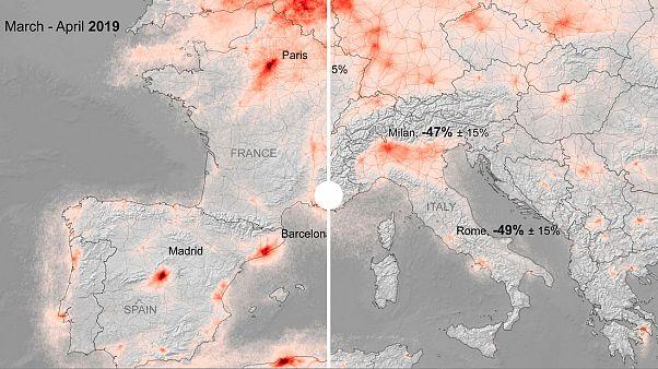Nuevos datos muestran caídas del 50% de la contaminación en las capitales europeas confinadas