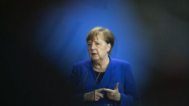 German Chancellor Angela Merkel in Berlin, Germany, on April 20, 2020. (Photo by Markus Schreiber / POOL / AFP)