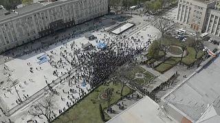 Акция против карантинных мер во Владикавказе 20 апреля 2020
