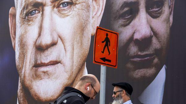 رئيس الحكومة الإسرائيلية بنيامين نتانياهو وخصمه السياسي بيني غانتس