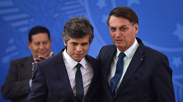 Nelson Teich comJair Bolsonaro no dia da tomade de posse como ministro da Saúde