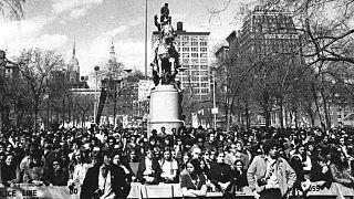 El 22 de abril de 1970, concentración por el primer Día de la Tierra en Nueva York.