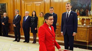 Arancha Gonzalez Laya takes her oath of office as Spain's new foreign minister during the swearing in ceremony at the Zarzuela Palace outside Madrid, Spain, Jan. 13, 2020
