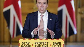 Britain's Health Secretary Matt Hancock attending a remote press conference on April 21, 2020.