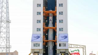 A handout picture released by Iran's Defence Ministry on February 9, 2020, shows the Zafar rocket, Persian for Victory, ahead of launch in February 2020