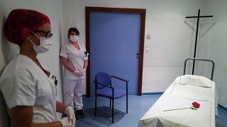 La morgue de l'hôpital Emile Muller à Mulhouse - département du Haut-Rhin - le 22 avril 2020