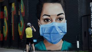 A mural in east London shows appreciation for NHS workers