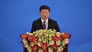 China's President Xi Jinping delivers a speech at the Diaoyutai State Guesthouse in Beijing Apr28, 2016 (KYODO NEWS/IORI SAGISAWA-POOL)