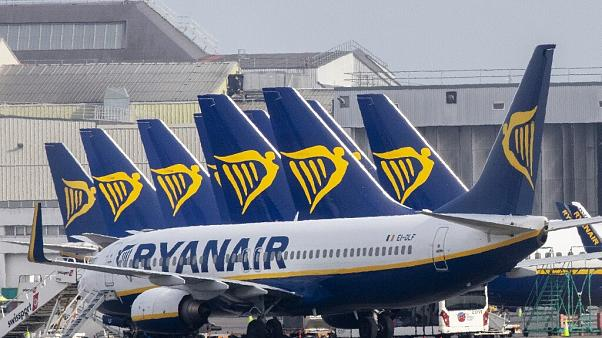 Ryanair passenger jets are seen on the tarmac at Dublin airport on March 23, 2020
