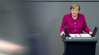 المستشارة الألمانية أنغيلا ميركل في جلسة البرلمان، الخميس 23 أبريل 2020
