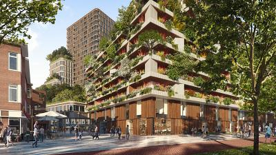 Wonderwoods Tower Vertical Forest designed as a way of greening the city of Utrecht.
