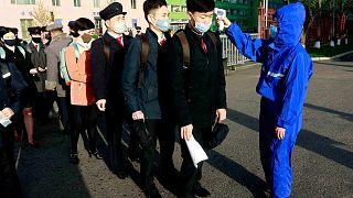 اجراءات احترازية لمواجهة فيروس كورونا،جامعة كيم تشيك للتكنولوجيا في بيونغ يانغ، الأربعاء، 22 أبريل 2020