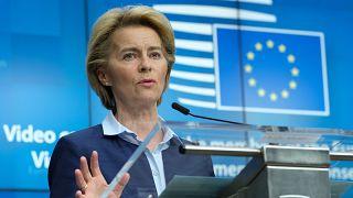 European Commission President Ursula von der Leyen speaks during a news conference