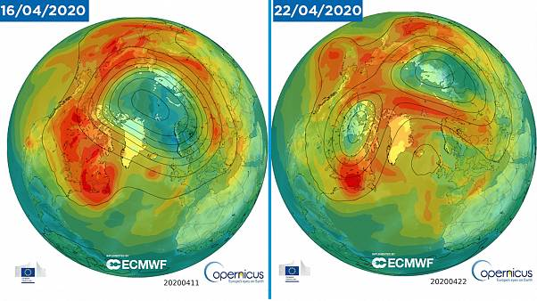 """Ozone """"hole"""" in April 16 and April 22"""