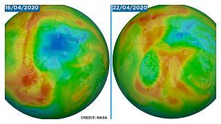 مقارنة بين ثقب الأوزون يوم 16 أبريل نيسان 2020 و22 من نفس الشهر