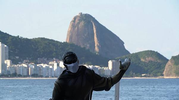 Face masks put on Rio de Janeiro's statues in bid to stop COVID-19