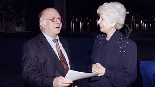 Olga Havlova, wife of Czech President Vaclav Havel, talks with German Labour Minister Norbert Blum