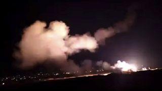 """صورة من فيديو نشرته وكالة سانا في 2018 لما قالت إنه """"تصدٍّ لغارات إسرائيلية"""""""