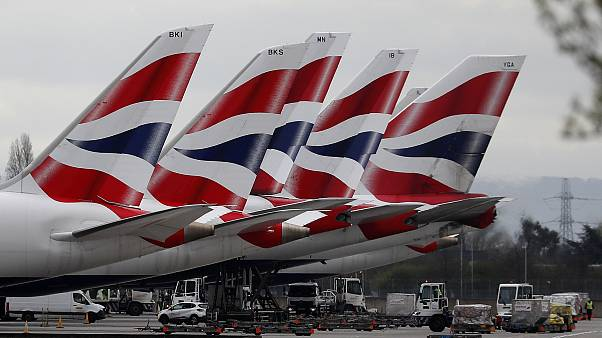 British Airways planes parked at Terminal 5 Heathrow airport in London in March 2020.