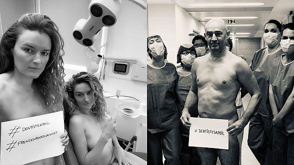Meztelenül tiltakoznak a francia fogorvosok