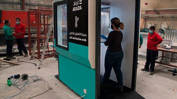 بوابة عبور للتعقيم مع نظام إجراء فحوصات هل مستخدمين في دبي - 2020/04/27