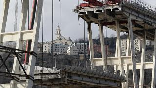 The remainder of the bridge was demolished last year following a deadly partial collapse