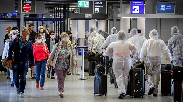 Due to the new coronavirus outbreak about 95 percent of the flights have been cancelled. (AP Photo/Michael Probst)