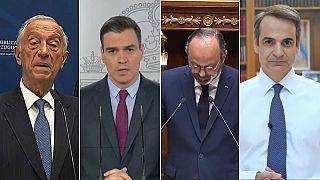 Des chefs de gouvernements européens présentant leur plan de déconfinement