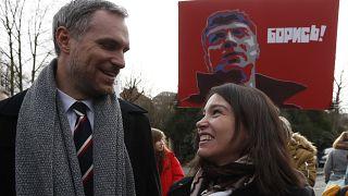 Zdenek Hrib at ceremony to rename a Prague square after Boris Nemtsov