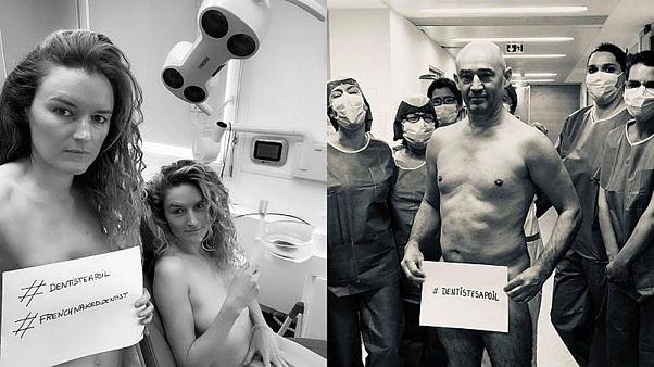Fransa'da diş hekimleri, kişisel koruyucu malzeme ihtiyacına dikkati çekmek için sosyal medyada çıplak fotoğraflarını  paylaşıyor