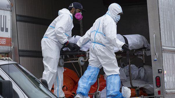 عملية إنزال جثث من شاحنات تبريد في بروكلين - 2020/04/29