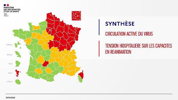 دولت فرانسه نقشه تقسیمات کشوری بر اساس شیوع ویروس کرونا را منتشر کرد