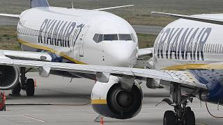 Ryanair aircraft stand at the airport in Weeze, Germany.
