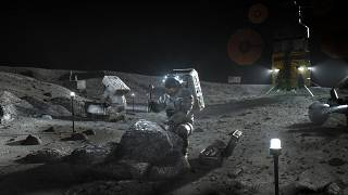 This illustration made available by NASA in April 2020 depicts Artemis astronauts on the Moon.