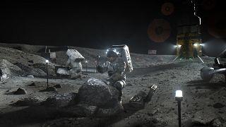 NASA tarafından Nisan 2020'de paylaşılan canlandırma Artemis astronotlarını Ay'da tasvir ediyor